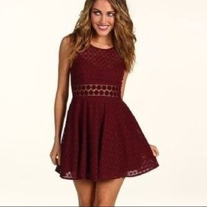Free People Burgundy Cut Out Flower Dress Size 6